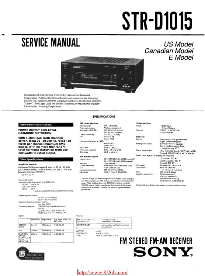 Sony索尼STR-D1015功放维修手册