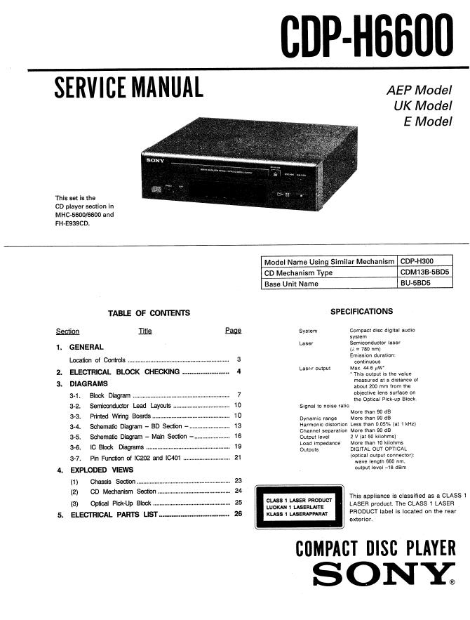 Sony索尼CDP-H6600 CD机维修图纸