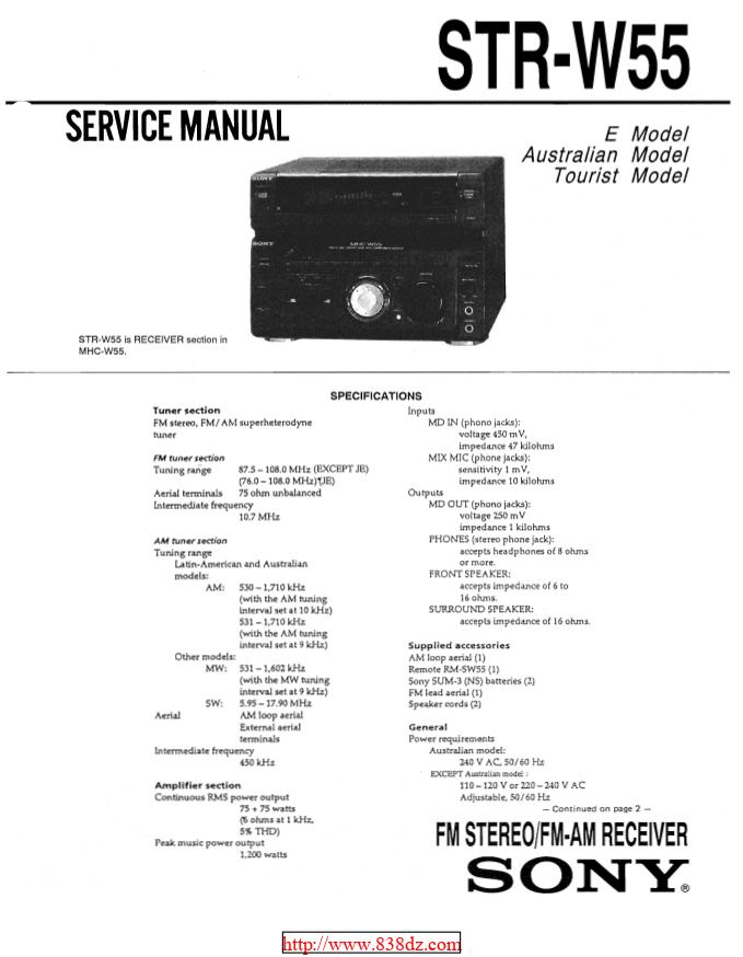 Sony索尼STR-W55功放维修手册