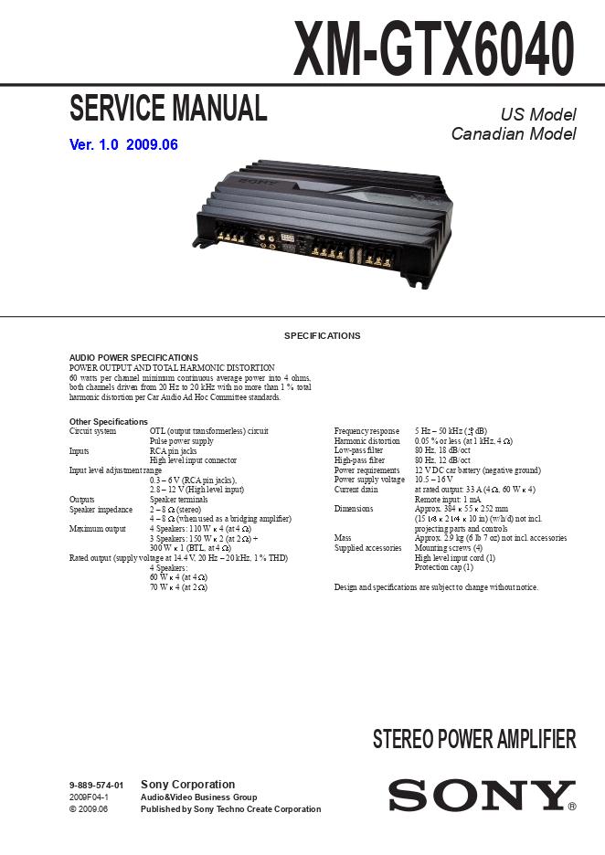 Sony-索尼XM-GTX6040 维修手册