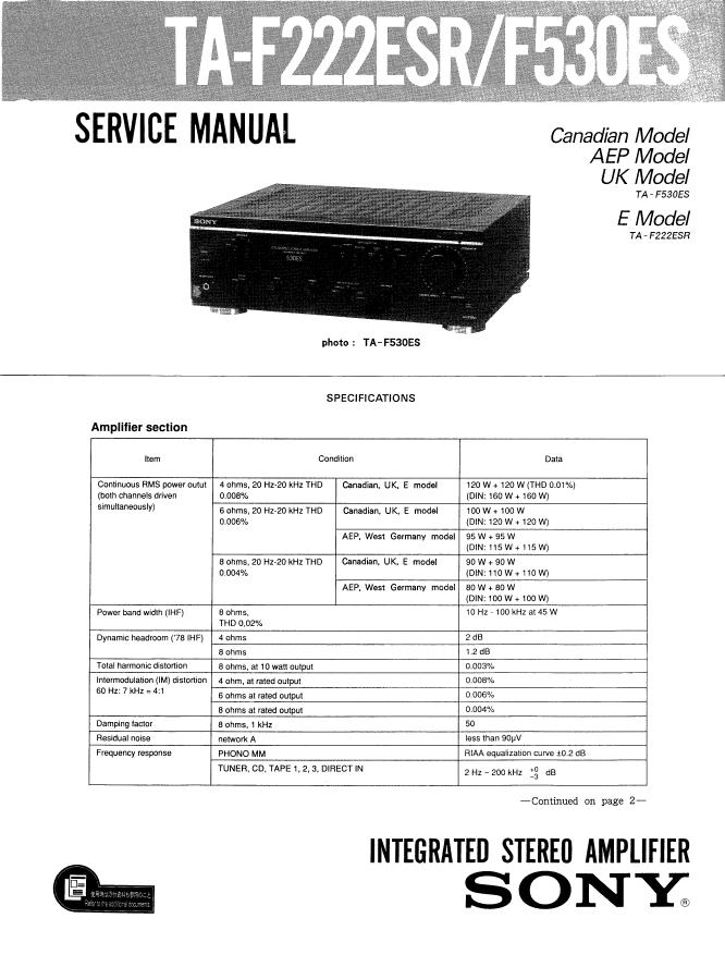 SONY索尼TA-F530ES TA-F222ESR功放机维修手册
