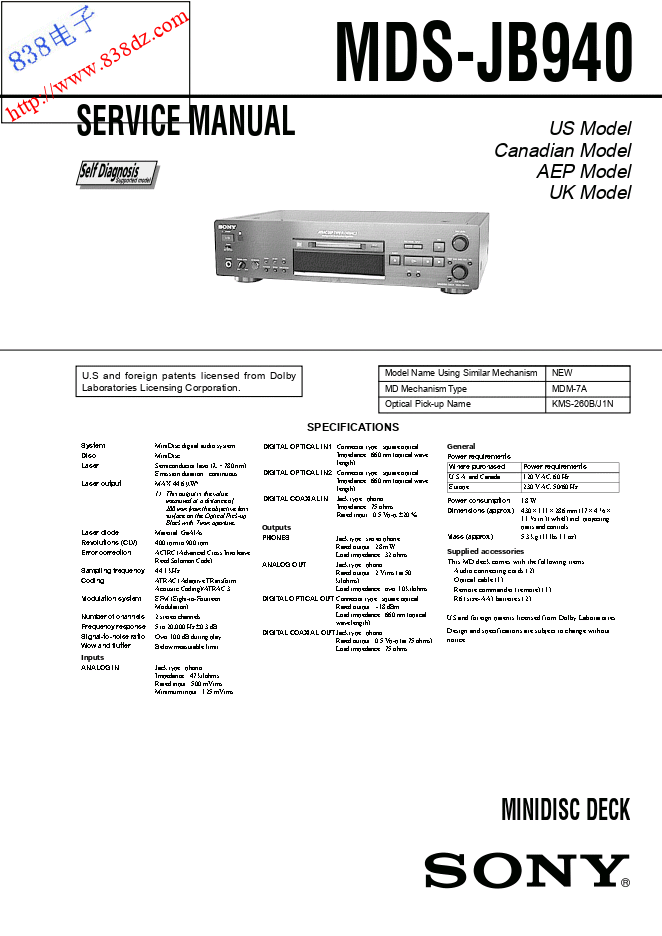 SONY索尼 MDS-JB940 MD机维修手册