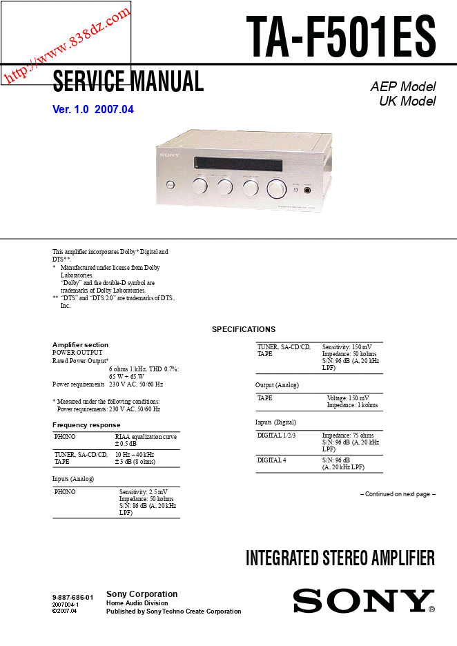 sony索尼TA-F501ES功放维修手册