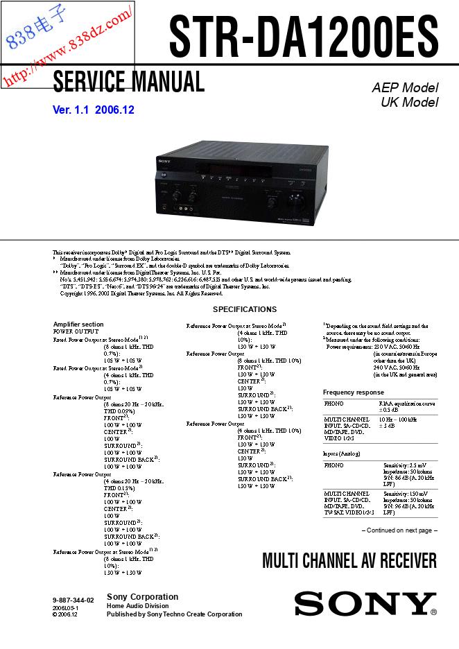 SONY索尼STR-DA1200ES功放维修手册