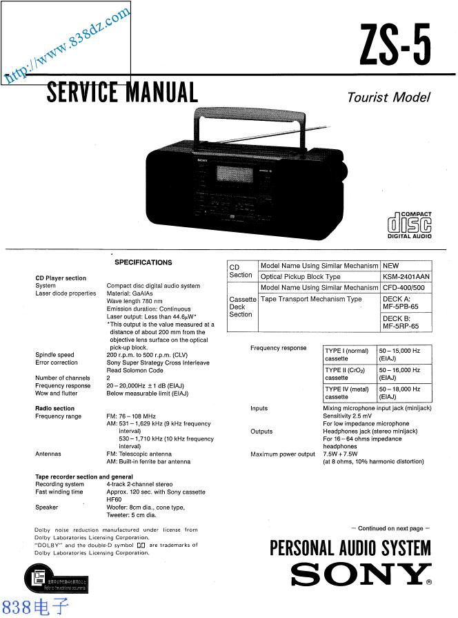 SONY索尼ZS-5收音机维修手册