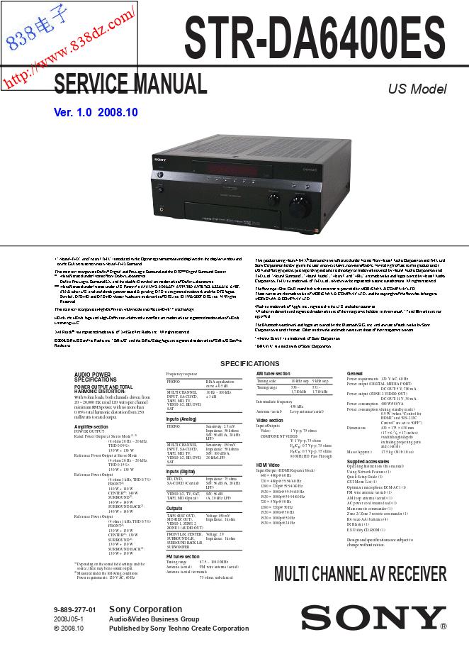 SONY索尼STR-DA6400ES功放维修手册