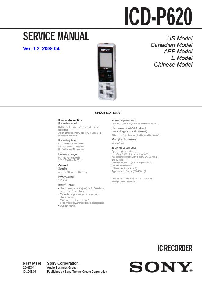 SONY索尼ICD-P620录音笔维修手册
