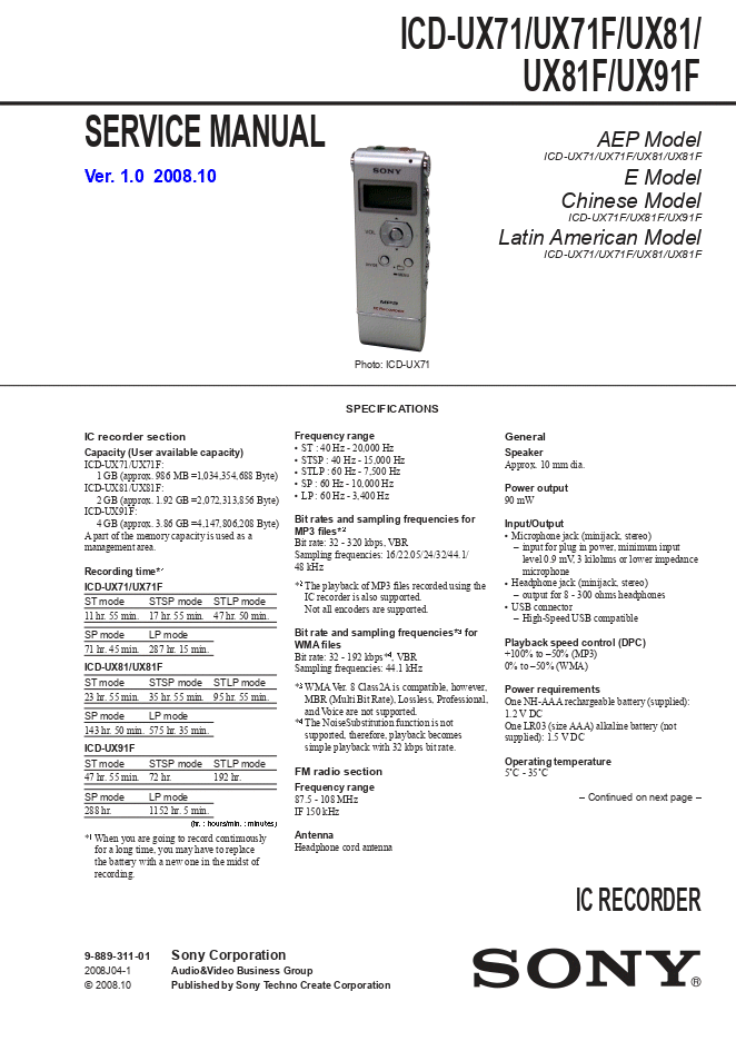 SONY索尼ICD-UX71 ICD-UX71F ICD-UX81 ICD-UX81F ICD-UX91F录音笔维修手册