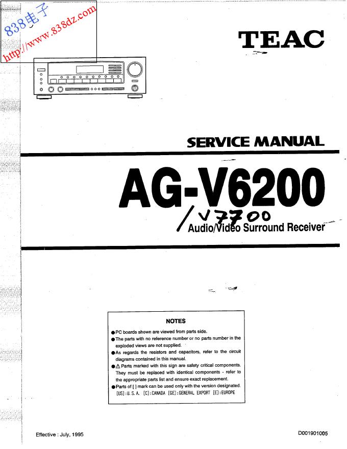 TEAC AG-V6200 AG-V7700功放维修手册