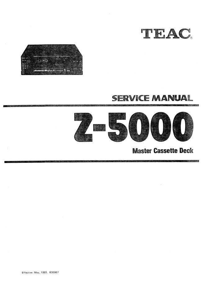 TEAC第一音响 Z-5000磁带卡座维修手册