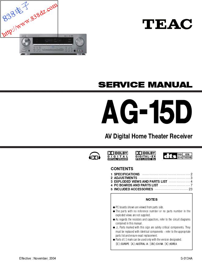 TEAC AG-15D AV功放维修手册