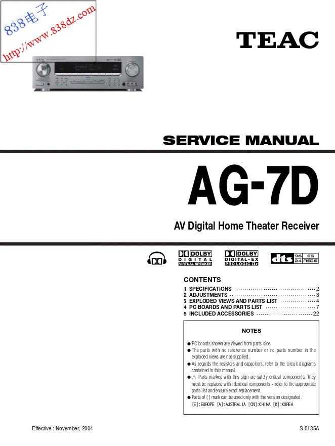 TEAC AG-7D家庭影院功放维修手册
