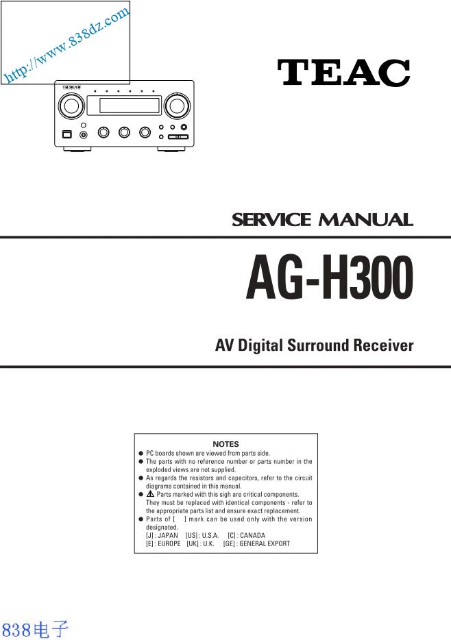 TEAC第一音响 AG-H300功放维修手册