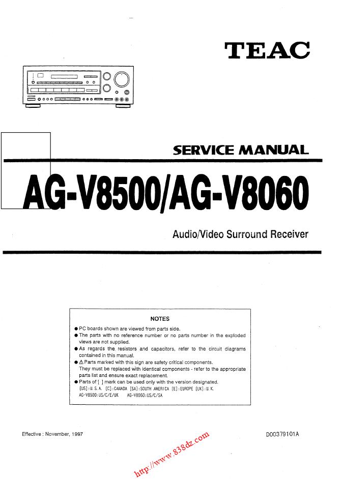 TEAC AG-V8060功放维修手册