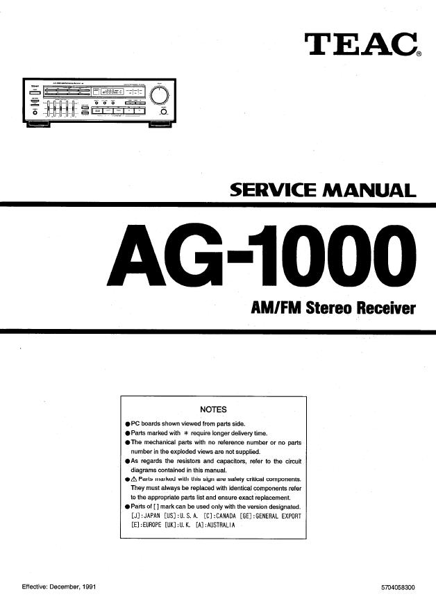 TEAC AG-1000 功放维修手册