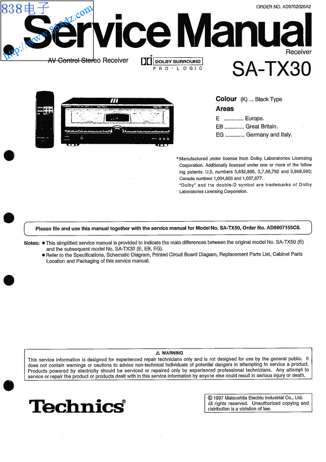 TECHNICS松下SA-TX30功放维修手册