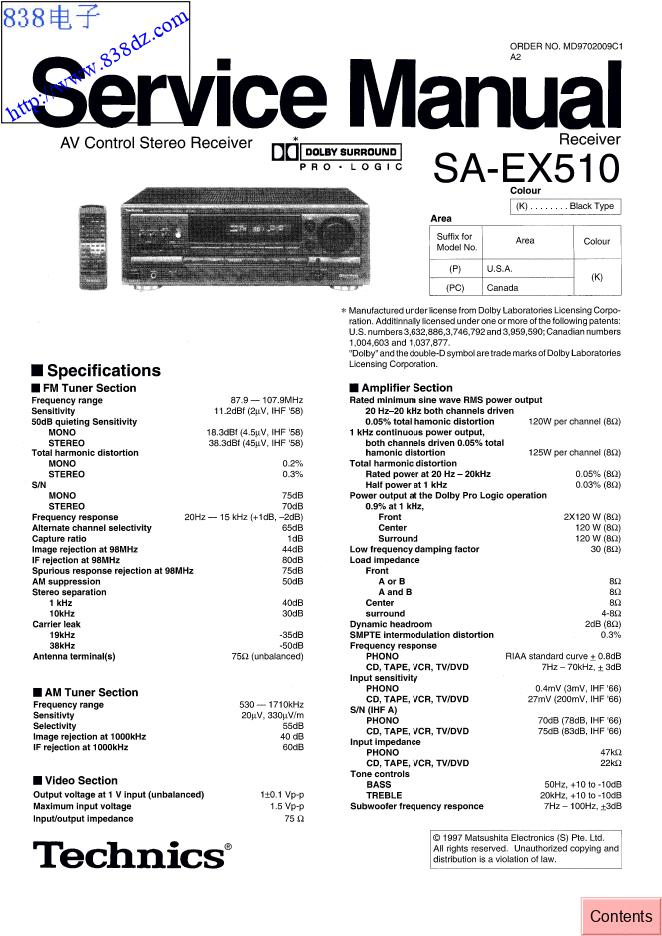 Technics松下SA-EX510功放维修手册