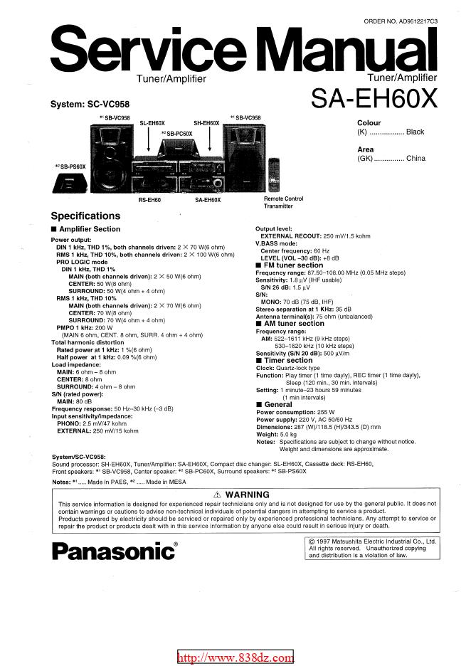 panasonic松下SA-EH60X 调谐器/功放维修手册