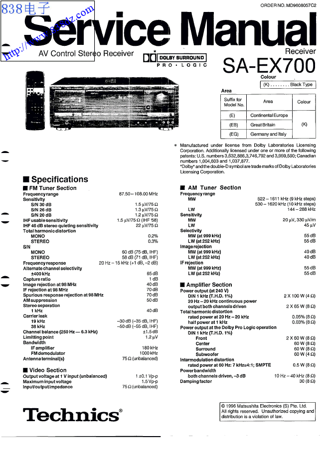 Technics松下SA-EX700功放维修手册