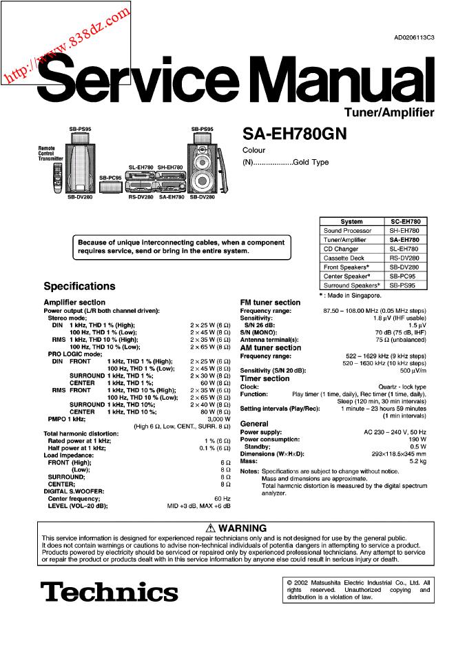 TECHNICS松下SA-EH780GN收音功放部分维修手册