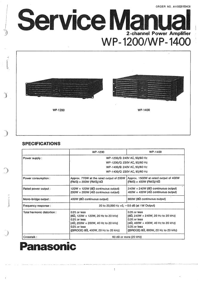 松下PANASONIC WP-1200 WP-1400功放维修手册