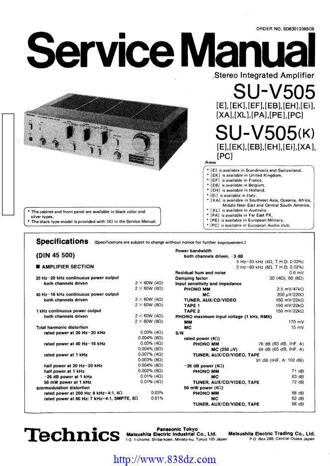 Technics松下 SU-V505功放维修手册