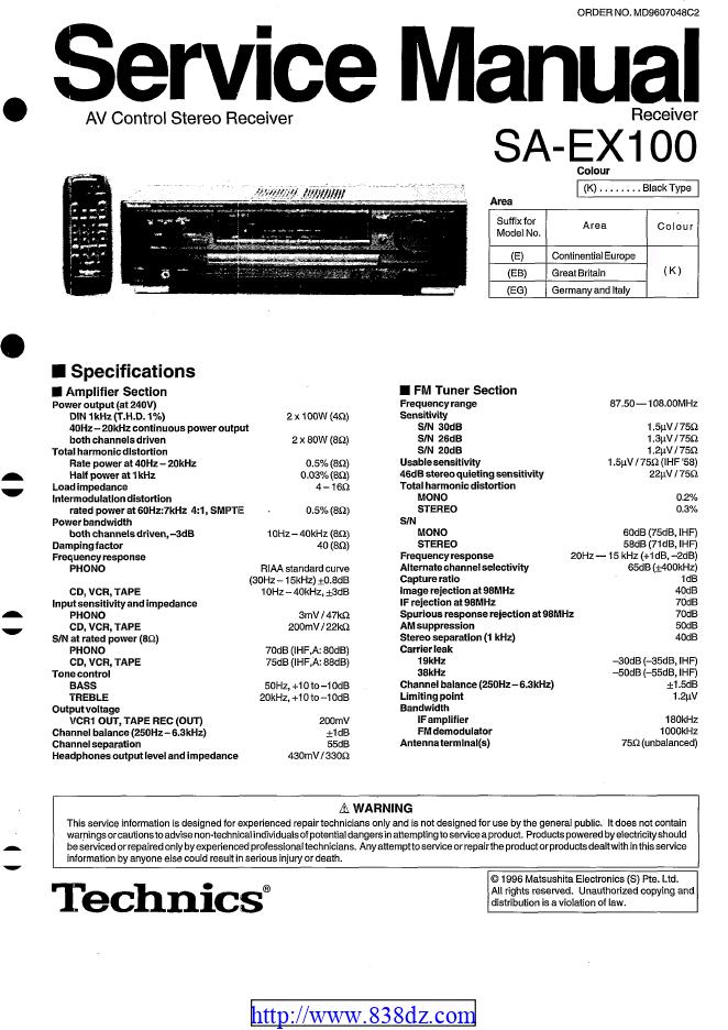Technics松下 SA-EX100 AV功放维修手册