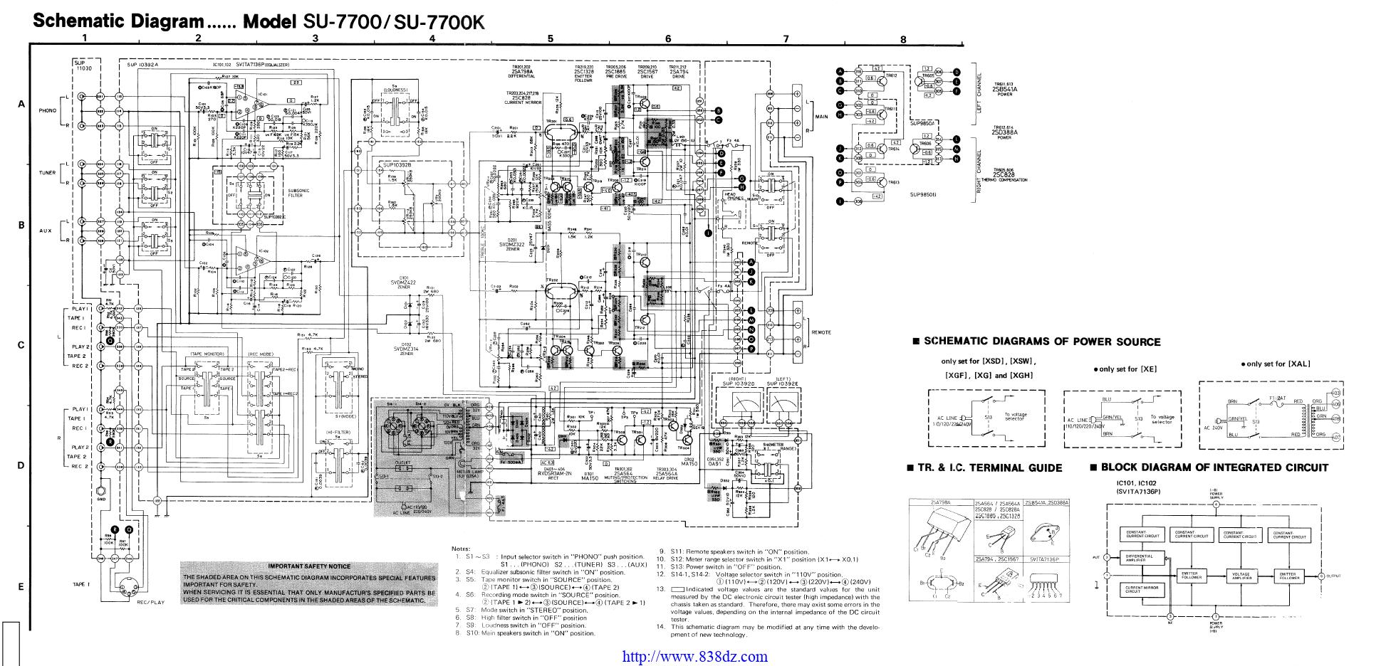 Technics松下 SU-7700功放维修电路图纸