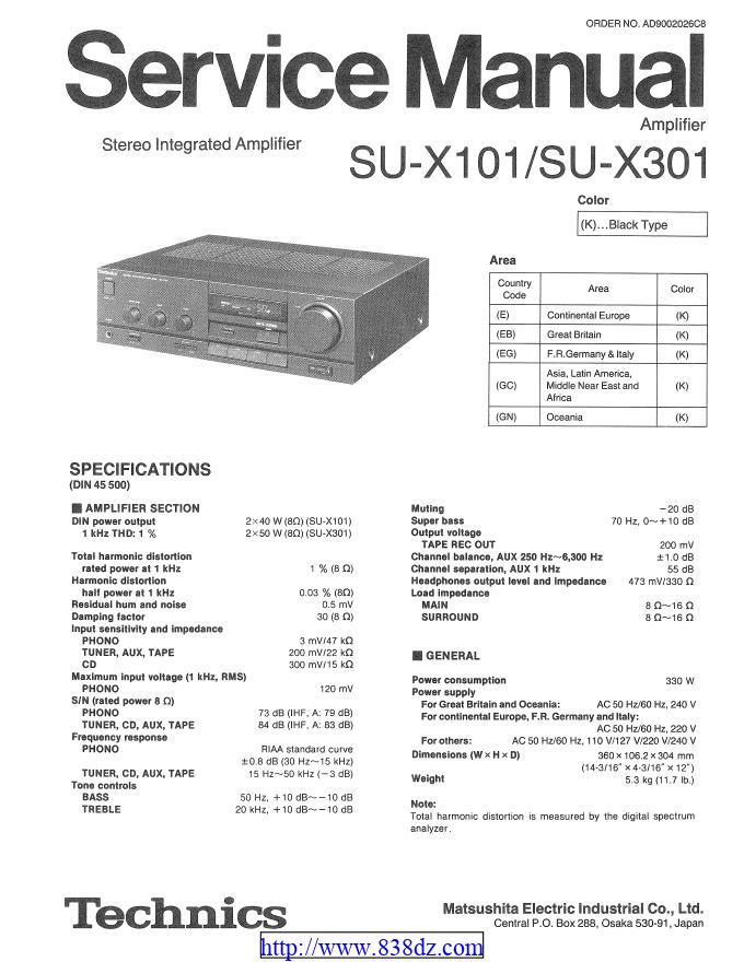 Technics松下 SU-X301 SUX101功放维修手册