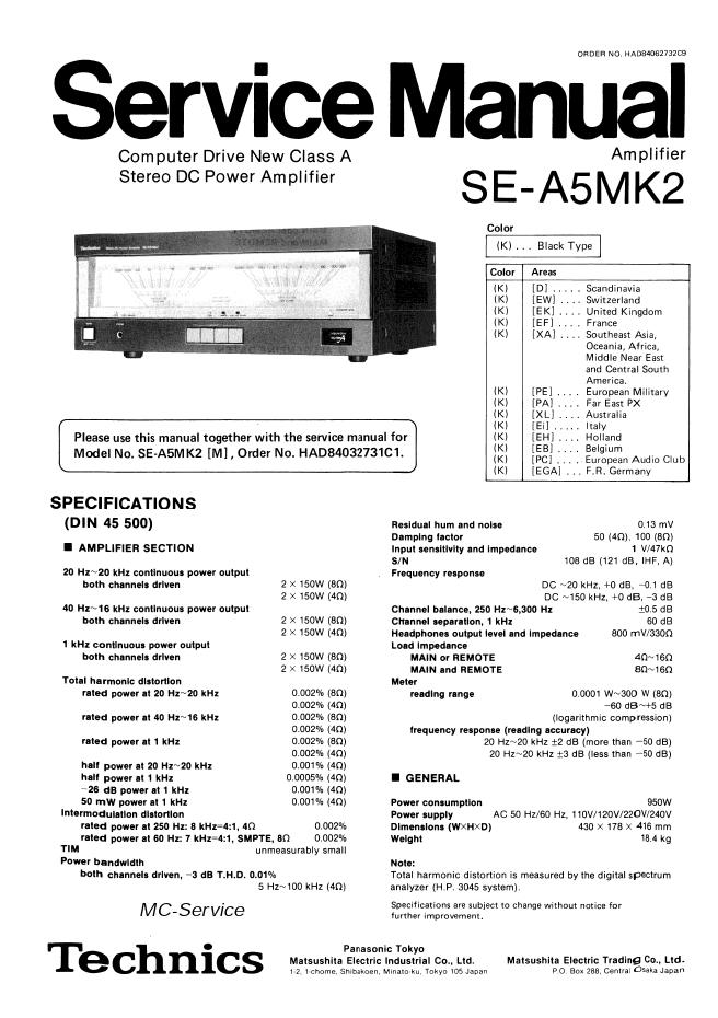 Technics松下SE-A5MK2 功放维修手册