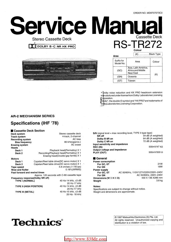松下Technics RS-TR272卡座维修手册