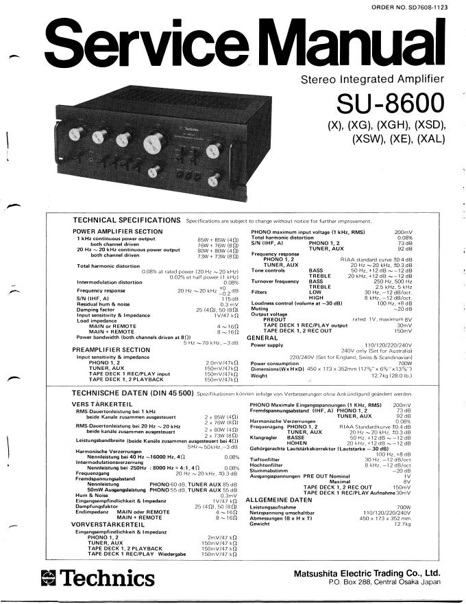 Technics松下SU-8600维修手册