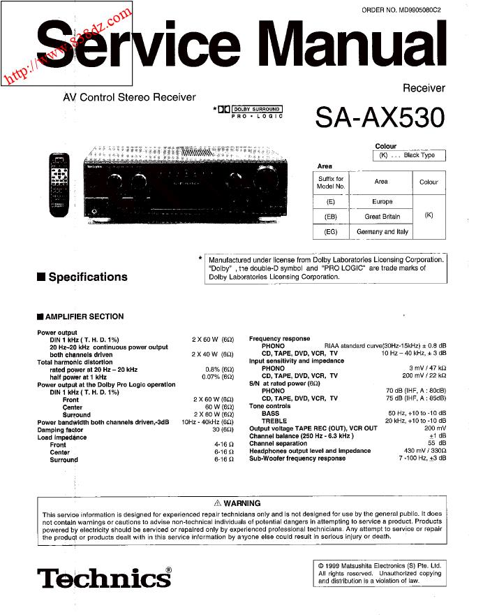 Technics松下SA-AX530环绕声接收器功放维修手册