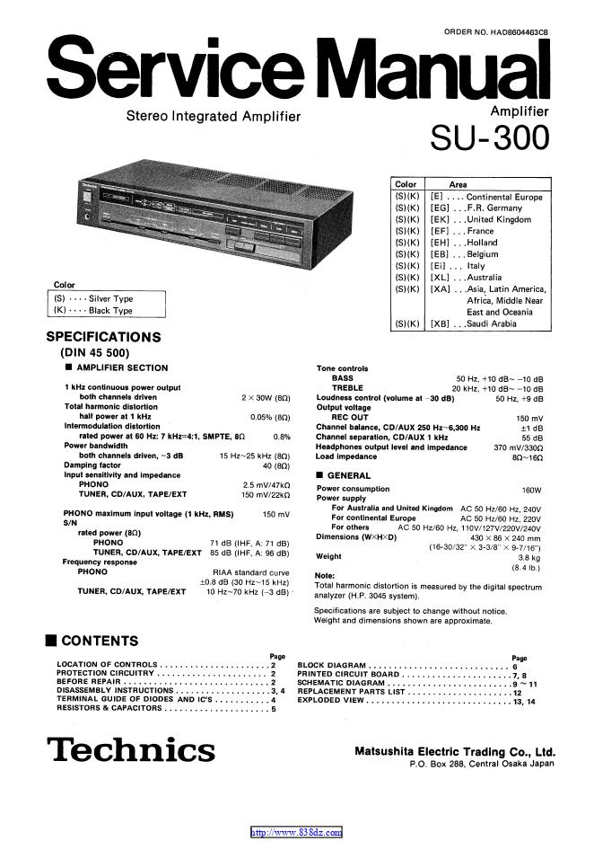 Technics su-300 电路图维修手册