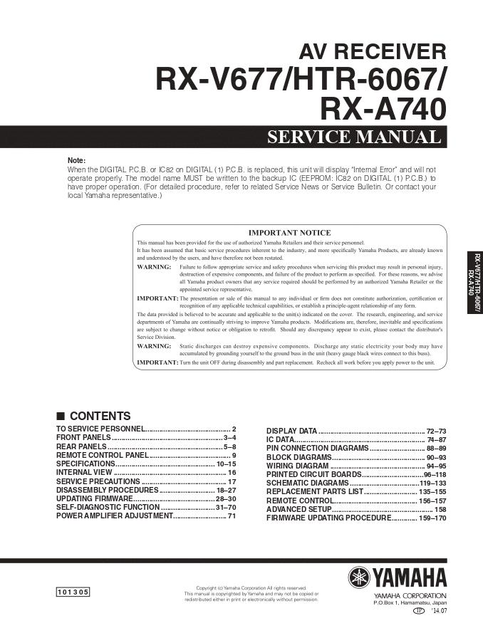 YAMAHA雅马哈RX-V677 HTR-6067 RX-A740功放维修手册RX-V777相似