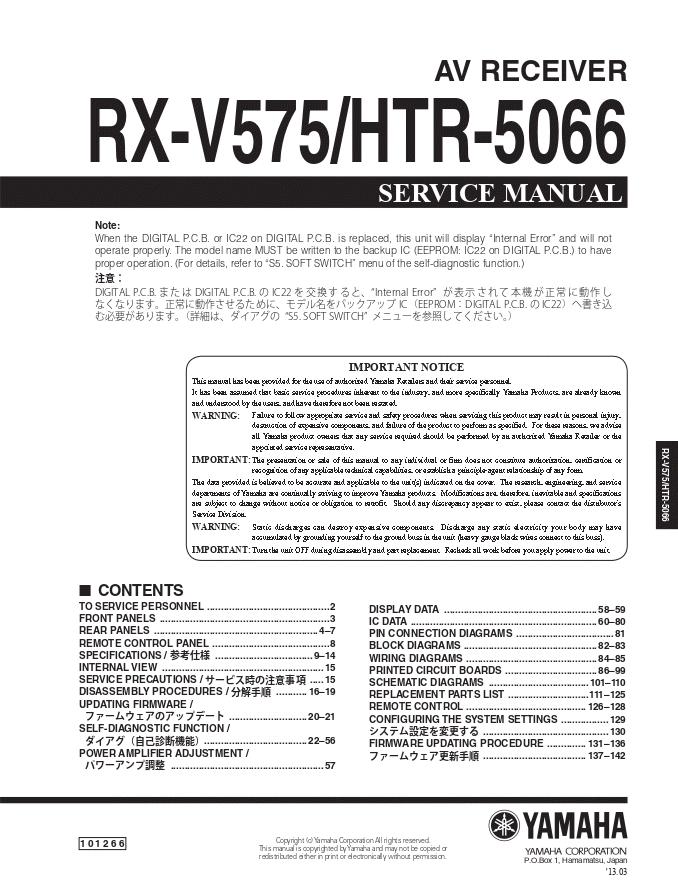 YAMAHA雅马哈 RX-V575 HTR-5066功放维修手册