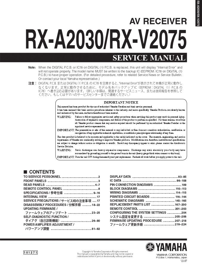 YAMAHA雅马哈 RX-A2030 RX-V2075功放维修手册