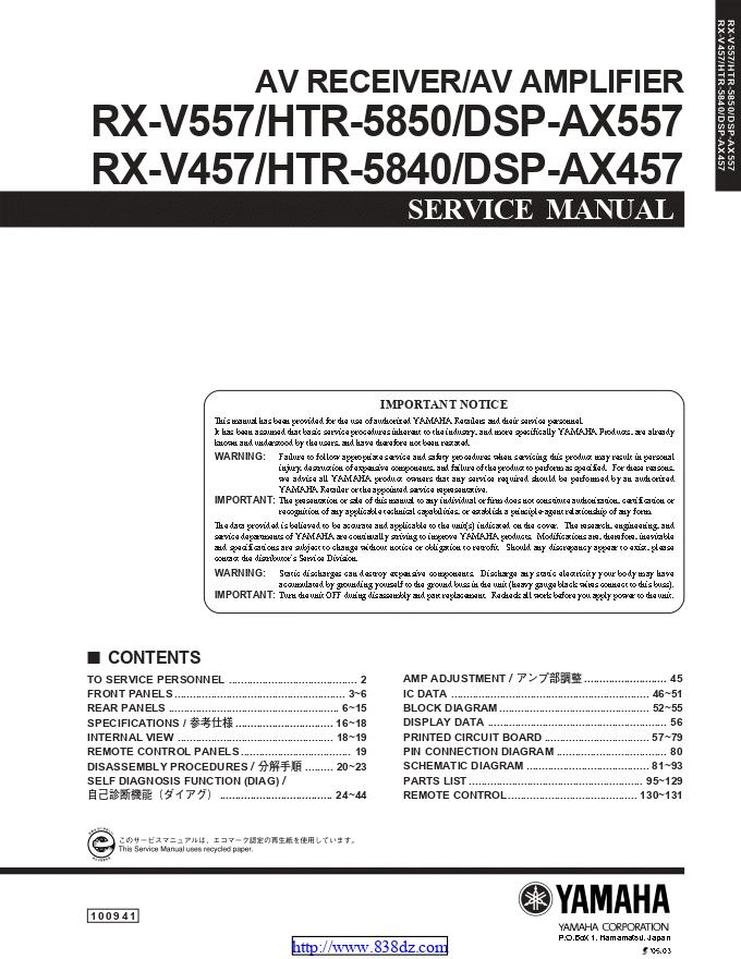 Yamaha 雅马哈DSP-AX557 HTR-5840 DSP-AX457 AV功放维修手册