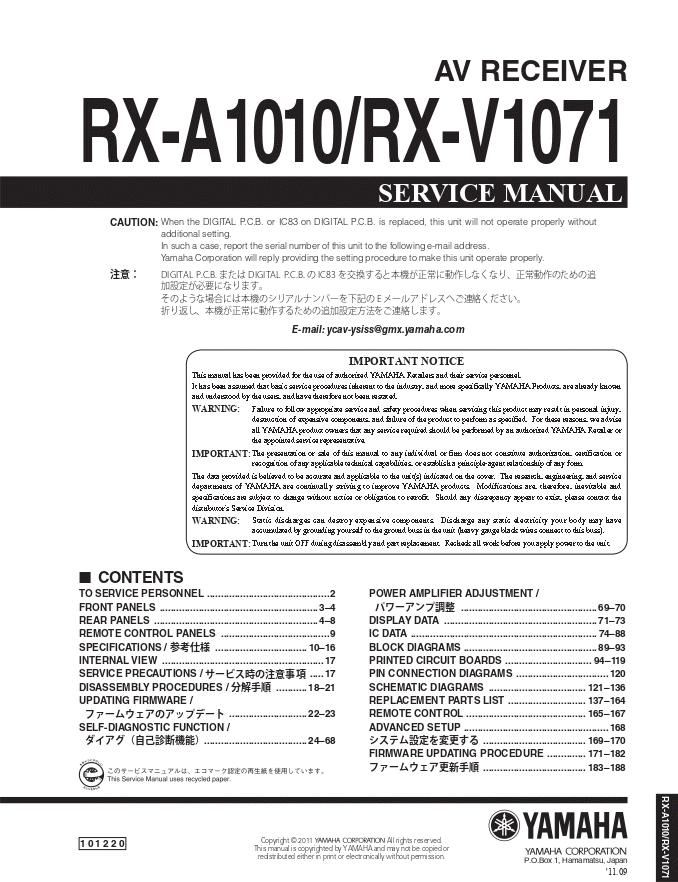 Yamaha 雅马哈RX-A1010 RX-V1071 AV功放维修手册