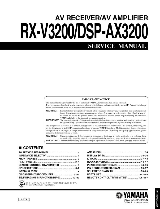 Yamaha 雅马哈RX-V3200/DSP-AX3200 AV功放维修手册