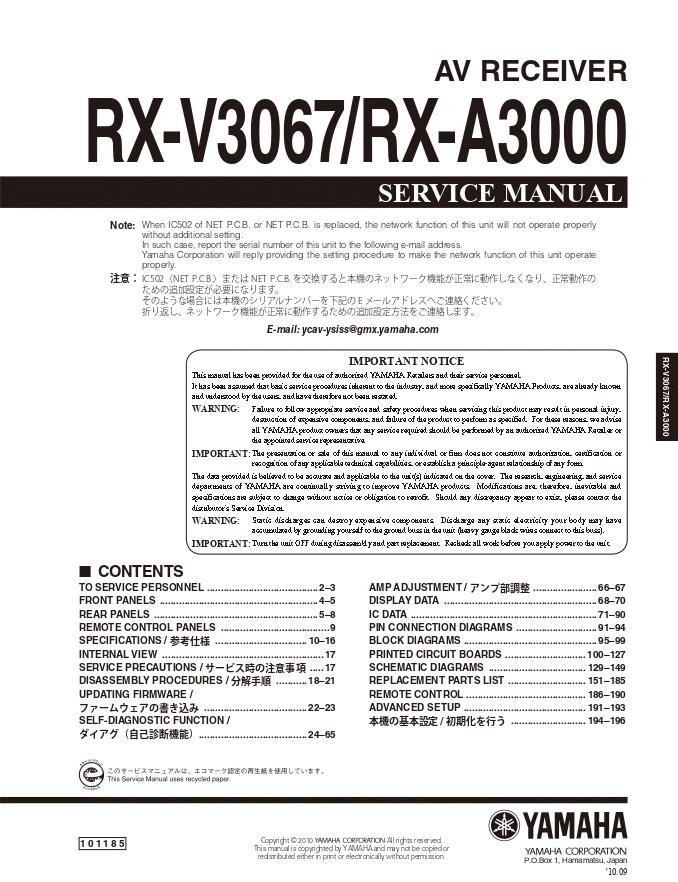 Yamaha 雅马哈 RX-V3067 RX-A3000 AV功放维修手册
