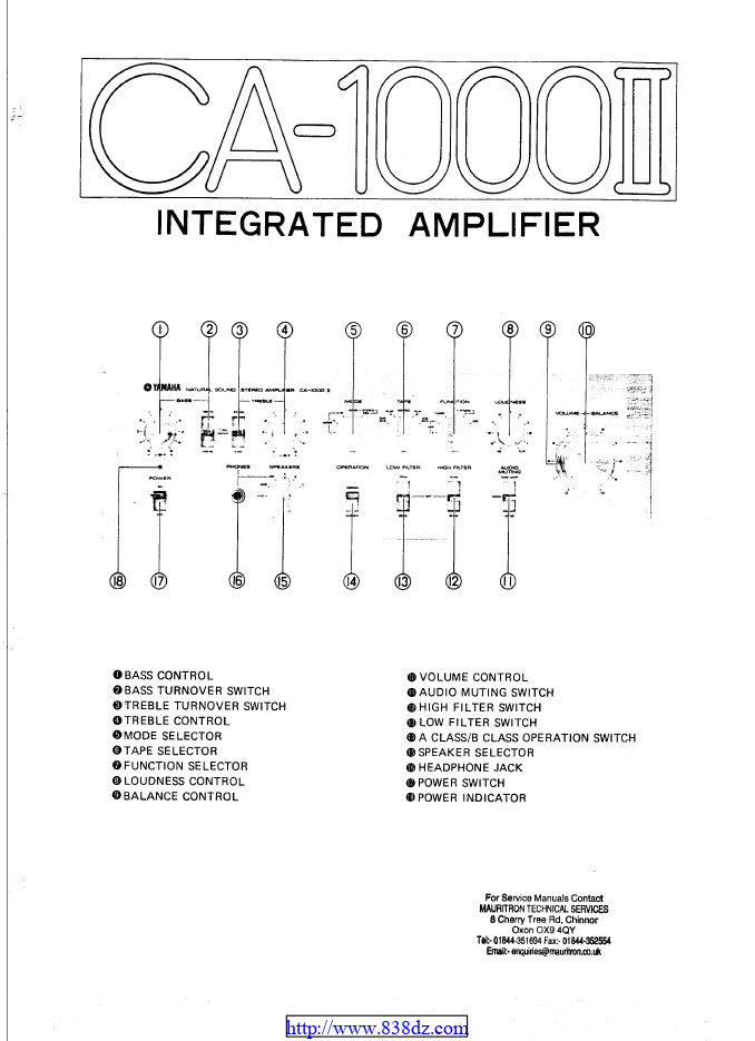 Yamaha 雅马哈 CA-1000II 功放维修电路图