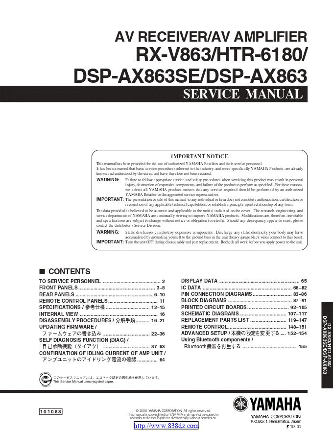 Yamaha 雅马哈 DSP-AX863 功放维修手册