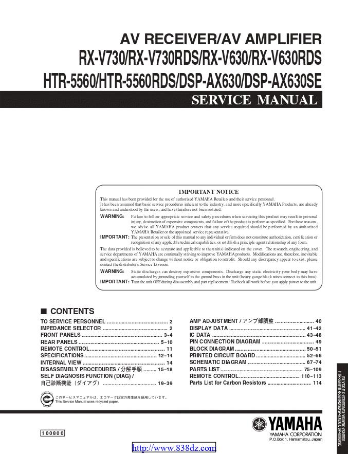Yamaha 雅马哈 RX-V730RDS功放维修手册