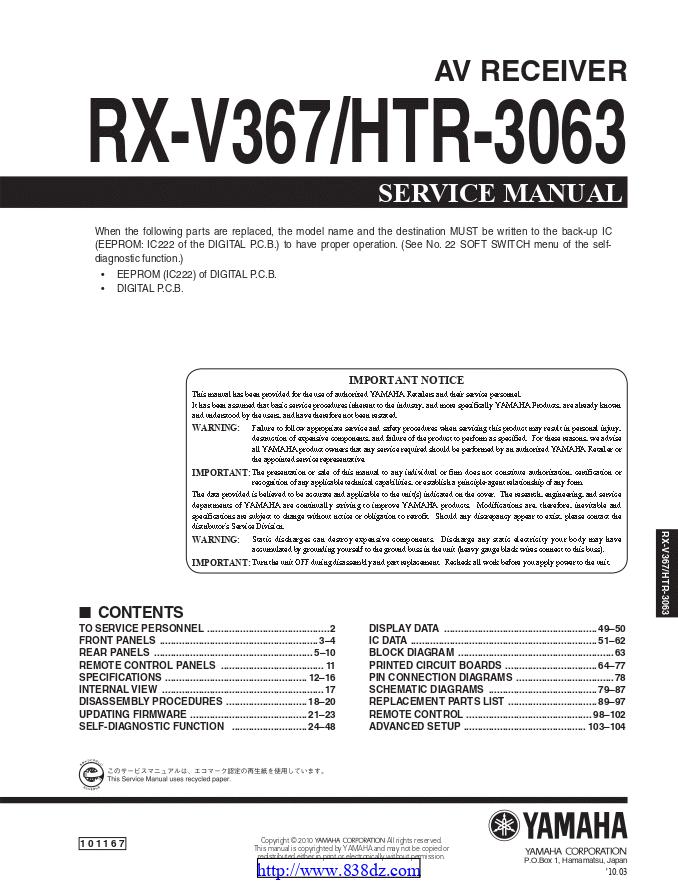 Yamaha 雅马哈 HTR-3063 功放维修手册