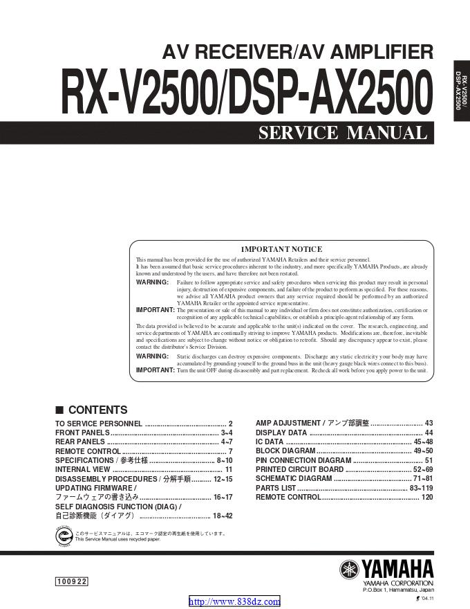 Yamaha 雅马哈RX-V2500 功放维修手册