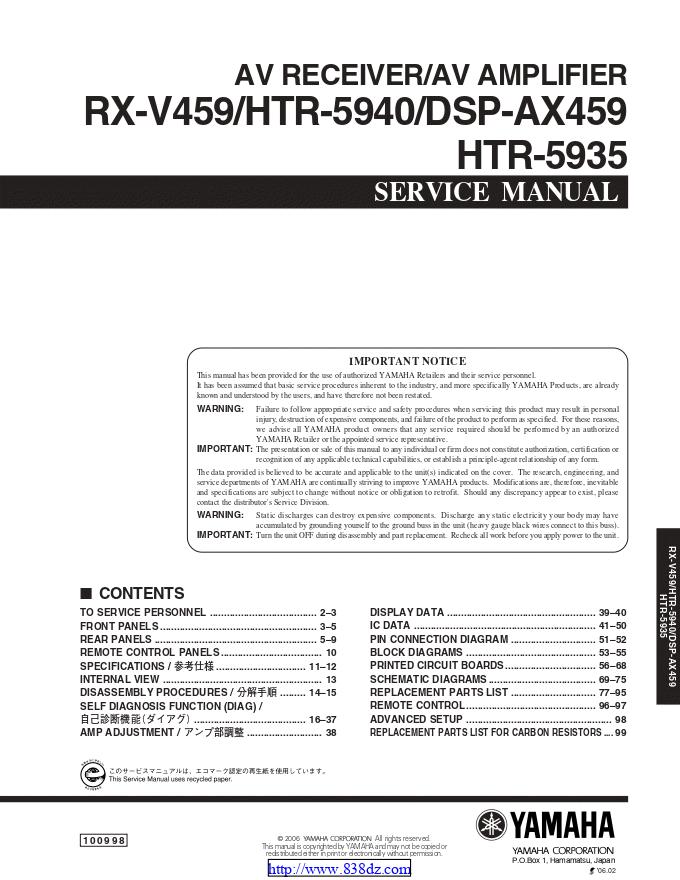 雅马哈Yamaha DSP-AX459功放电路图