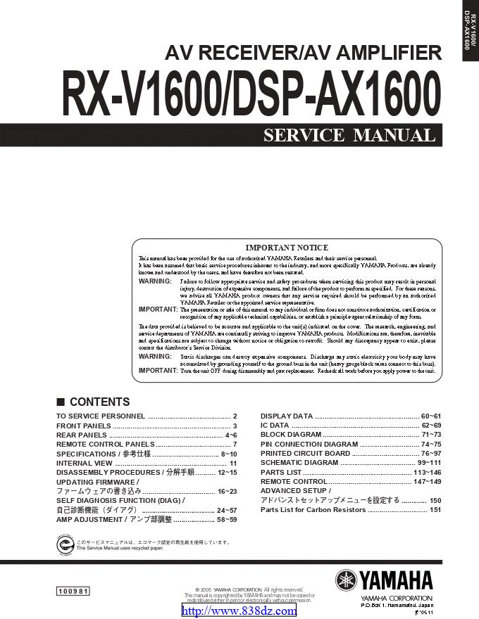 Yamaha 雅马哈 RX-V1600 功放维修手册