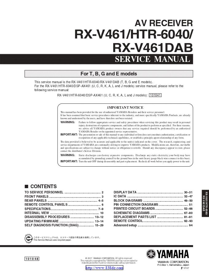 雅马哈yamaha RX-V461DAB功放维修手册