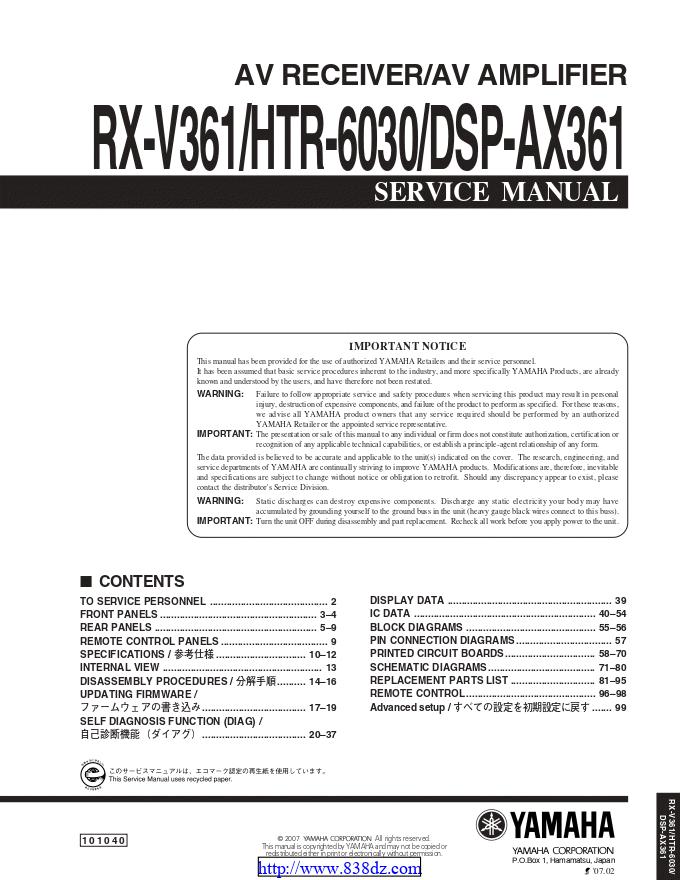 Yamaha雅马哈DSP-AX361功放维修手册
